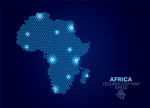Africa dotted technology map. Modern data communication concept
