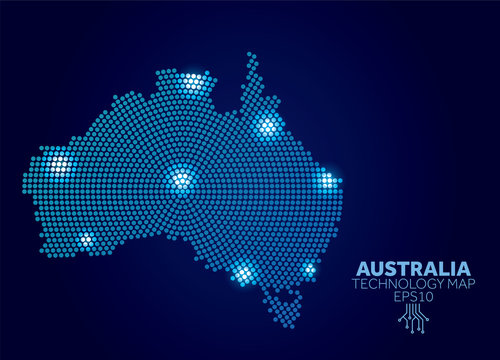 Australia dotted technology map. Modern data communication concept