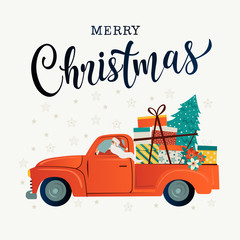 Merry christmas stylized typography. Vintage red car santa claus christmas tree and gift boxes. Vector flat style illustration.