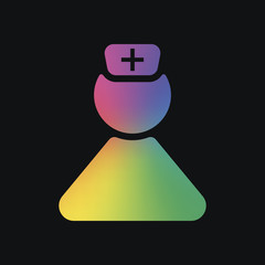 nurse, simple female symbol. Rainbow color and dark background