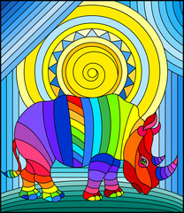 Illustration in stained glass style with funny rainbow rhino and sun on abstract background