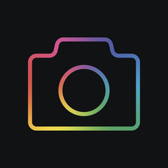 Photo camera, linear symbol with thin outline, simple icon. Rainbow color and dark background