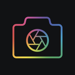 Photo camera with shutter, linear symbol with thin outline, simple icon. Rainbow color and dark background