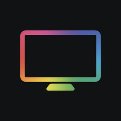 Computer monitor or modern TV. Simple icon. Rainbow color and dark background