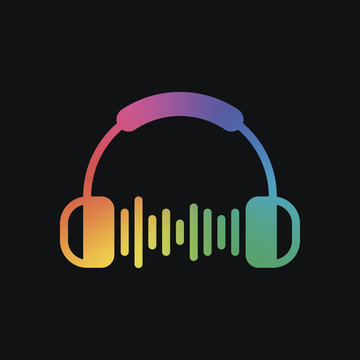 Headphones and music wave. Max volume level. Simple icon. Rainbow color and dark background