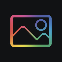 Picture with couple of mountains and sun. Simple linear icon. Rainbow color and dark background
