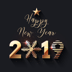 Happy New Year 2019 gold text design
