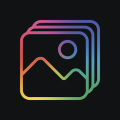 Simple stack of pictures. Rainbow color and dark background