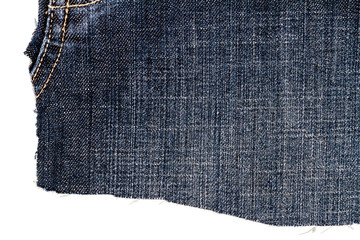 Piece of dark blue jeans fabric