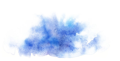 Watercolor blue abstract shape. Template for the design of posters, invitations, cards.