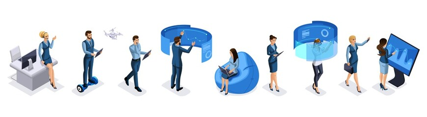 Isometric set of modern businessmen and business ladies with gadgets, smartphone, tablet, video shooting, laptop, drone quadrocopter, vector illustration