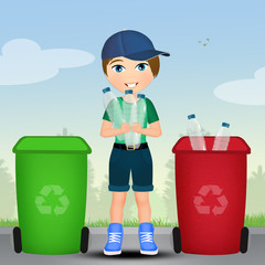child who recycles
