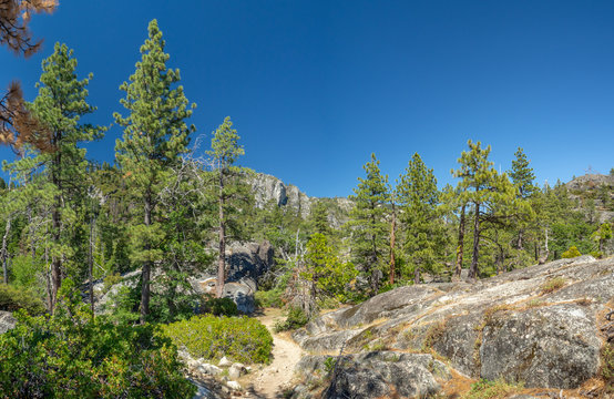 Pinecrest Lake, Stanislaus National Forest, Yosemite, California, USA - July 2018 - mountain recreation area dam