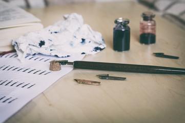 Calligraphy supplies:nib, ink, pen