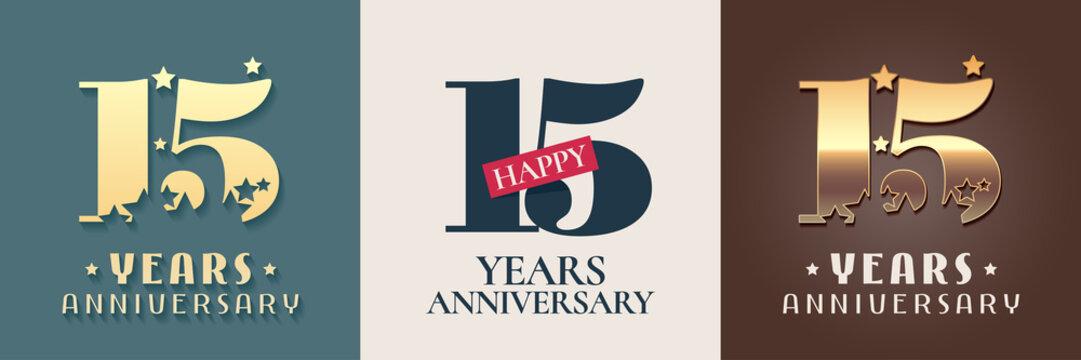 15 years anniversary set of vector icon, symbol, logo