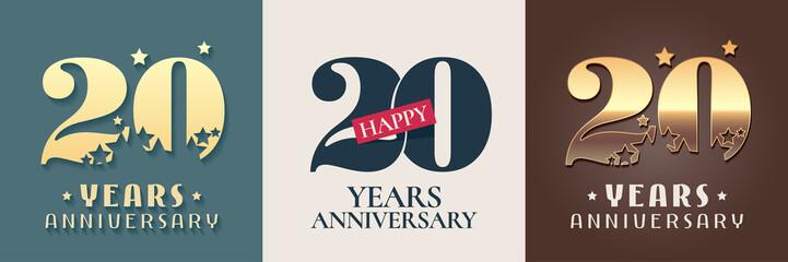 20 years anniversary set of vector icon, symbol, logo