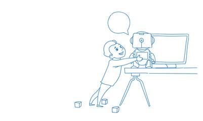 Boy using laptop computer modern robot futuristic artificial intelligence technology concept sketch doodle horizontal vector illustration