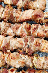 Meat roasted on fire barbecue grill