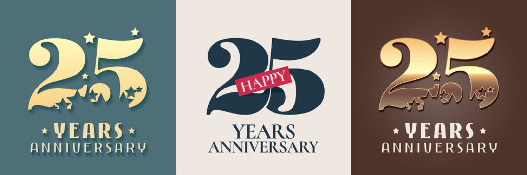 25 years anniversary set of vector icon, symbol, logo