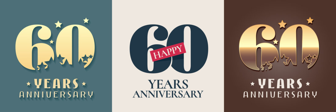 60 years anniversary set of vector icon, symbol, logo