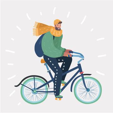 Man riding in bike on winter landscape.