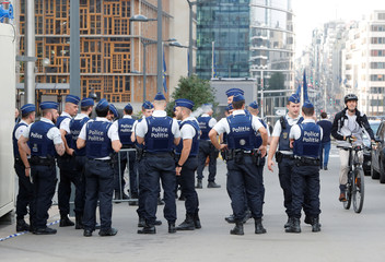 Police officers are seen outside the EU Council ahead of the European Union leaders summit in Brussels