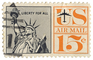 Printed roller blinds Historic monument Vintage US airmail stamp Statue of Liberty