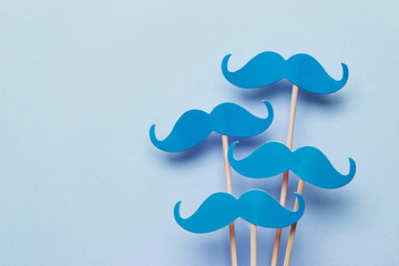 Blue moustache on a Blue background. Prostate cancer awareness month