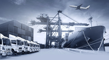Multiple exposures of business shipping, logistics, industry background overall.