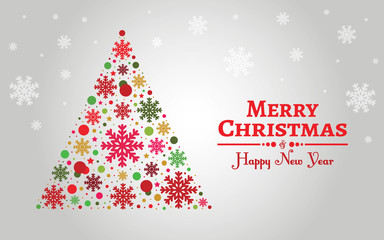 Holiday background with snowflakes and merry christmas greeting.
