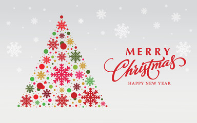 Creative xmas tree design made with snow background and  merry christmas text.