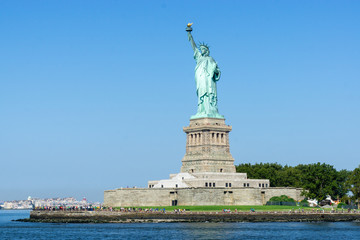 The Statue of Liberty on Liberty Island in New York Harbor, USA.