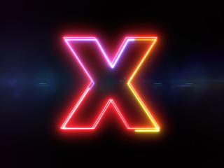 Letter X - colorful glowing outline alphabet symbol on blue lens flare dark background