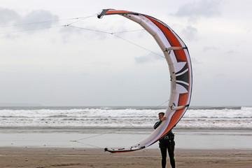 kitesurfer launching kite
