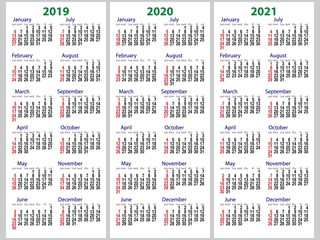 Calendar grid for 2019, 2020 and 2021 years set. The week starts on Sunday. One day off is Sunday. Simple vertical template in English.