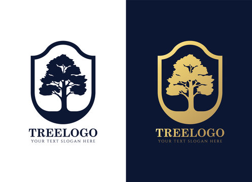 Gold and dark blue tree logo sign in Elegant shield frame vector design