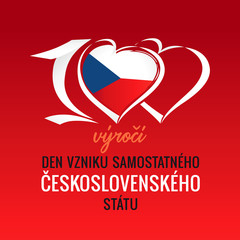 100 výročí vzniku samostatného československého státu, translation: 100th years anniversary independent Czech republic. Vector Flag of Czechia with heart shape for Independence Day 28 October 1918