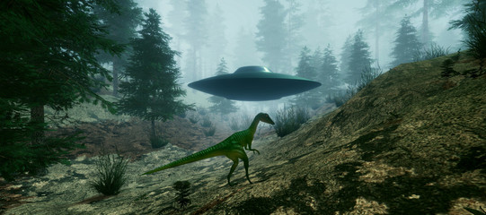 Extremely detailed and realistic high resolution 3d illustration of a Dinosaur encountering an Alien Ufo
