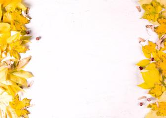Orange autumn leaf border on white background, top view, copy space