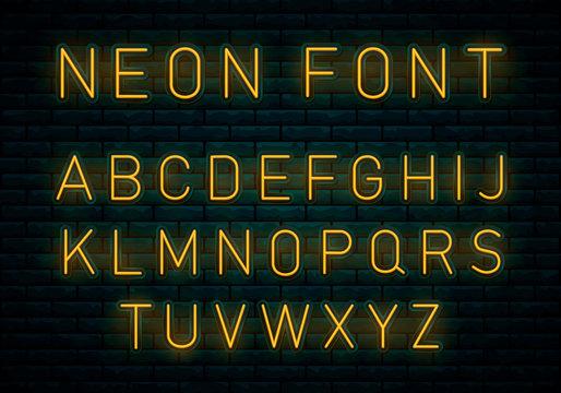 Neon yellow font.