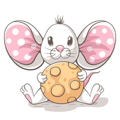 Cute, funny, tedy mouse cartoon characters. Idea for print t-shirt.