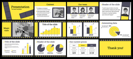 Business presentation template in yellow and grey on white background.