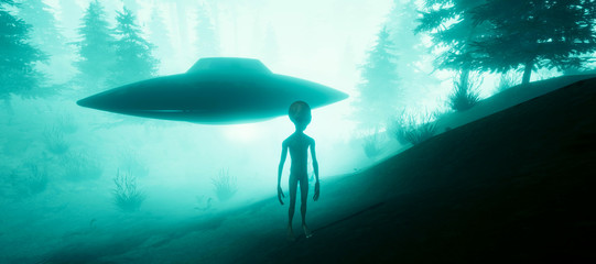 Poster UFO Extremely detailed and realistic high resolution 3d illustration of a Grey Alien standing in a forest