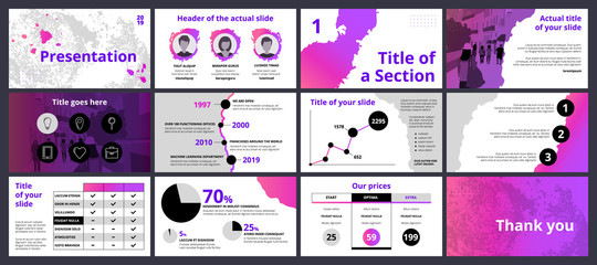 Business presentation template with gradients and black circles on white background