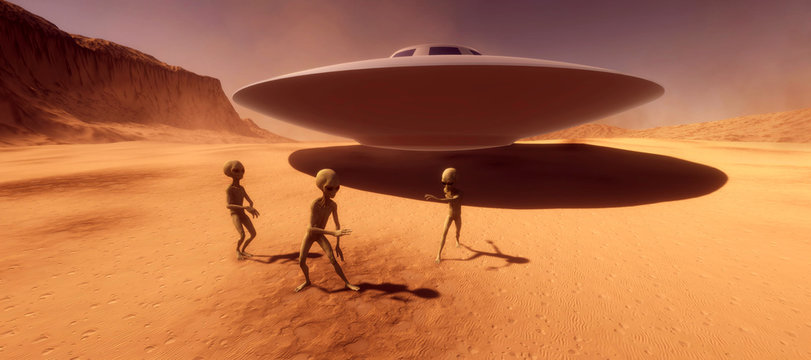 Extremely detailed and realistic high resolution 3d illustration feauturing 3 dancing Grey Aliens on a Mars like planet
