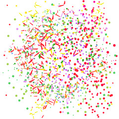 Multicolored confetti on isolated white. Geometric background with glitters. Pattern for design. Print for flyers, posters, banners and textiles. Greeting cards. Luxury texture