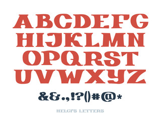 Set of isolated hand drawn slab serif letters. Complete alphabet