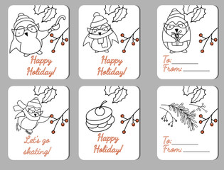Set of six holiday tags with funy penguins