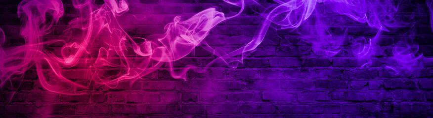 colorful smoke on a black background. Empty background of black brick wall, neon light, smoke.