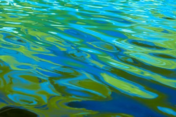 Vibrant multi colored ripples and waves of water with shades of blue, aqua and bright green, background, abstract